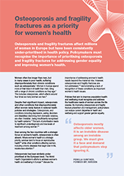 Osteoporosis and fragility fractures as a priority for women's health